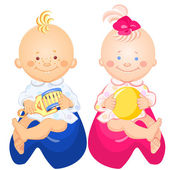 Little baby boy and girl with a rattle and ball in his hand smiling sitting on the pots