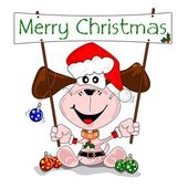 Merry Christmas cartoon with dog in a Santa Claus outfit