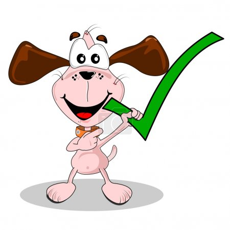 Illustration for Yes correct green tick symbol being held by a cartoon dog - Royalty Free Image