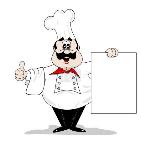 Illustration pour Chef de bande dessinée cuisinier avec planche de menu recette vierge - image libre de droit