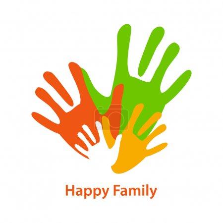 Illustration pour Signe d'une famille heureuse - main colorée - mères, pères et enfants. Modèle vectoriel . - image libre de droit
