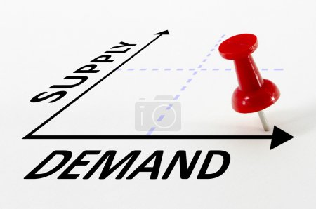 Photo for High Demand and Low Supply analysis concept on a graph with a red push pin - Royalty Free Image
