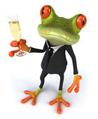 Business Frog and champagne