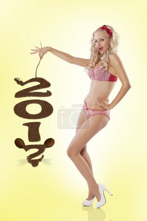 Pin up girl with new years rat