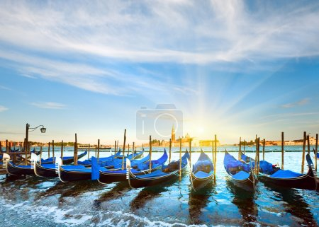 Venice gondolas at sunset