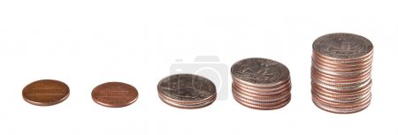 Photo for Coins stacked from small to larger amounts isolated on a white background - Royalty Free Image