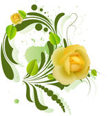 Beautiful Yellow Roses on Green Swirl Element