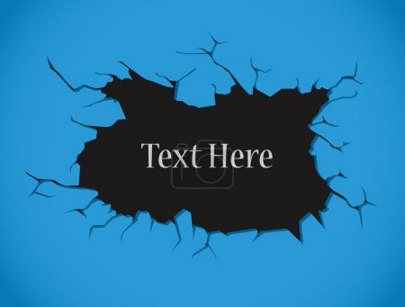 Illustration for Creative Conceptual Design of Blue Crack Wall Background - Royalty Free Image