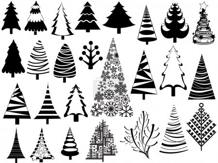 Illustration for Conceptual Decor Design of Creative Set of Christmas Tree Icons - Royalty Free Image