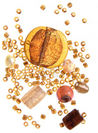 Selection of beads in amber color scheme, isolated