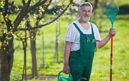Portrét starší muže zahradnictví v jeho zahradě (barva tónovaný im