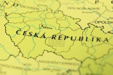 Czech republic as a travel destination on a map