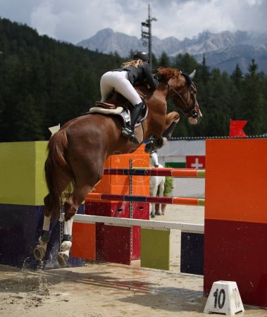 Beautiful lady jumping with her stud horse during ...