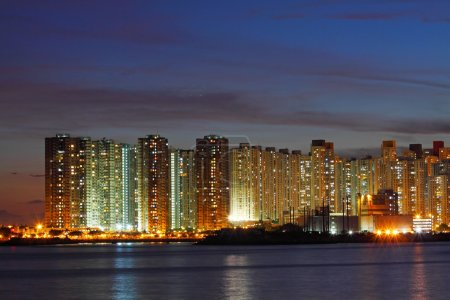 Hong Kong apartment blocks at night