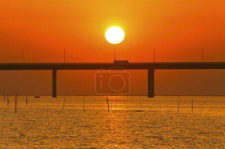Sunset over a bridge in Hong Kong