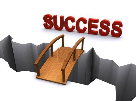 Photo pour 3D illustration d'un pont au-dessus d'un trou dans le sol menant au succès - image libre de droit