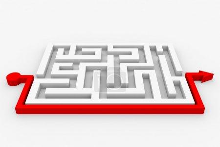 Photo pour Chemin à travers le labyrinthe. Une solution intelligente. Image générée par ordinateur . - image libre de droit