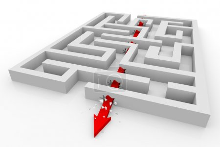 Photo pour Flèche se déplace à travers les murs du labyrinthe. Image générée par ordinateur . - image libre de droit