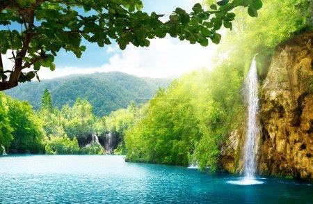 Photo pour Cascade en forêt profonde de Croatie - image libre de droit