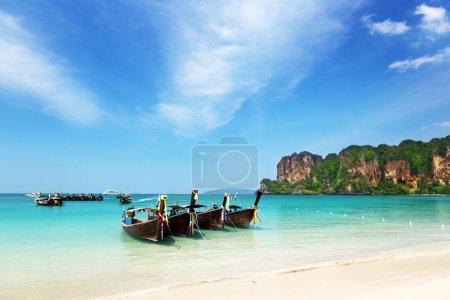 Boats on Ao Nang beach Thailand