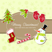Beautiful Christmas card with xmas stocking, toys holly berries, candy cane