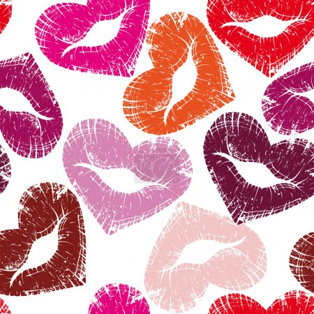 Illustration for Print of heart lips, seamless kiss valentine background, cute grange vector illustration. Element for design - Royalty Free Image