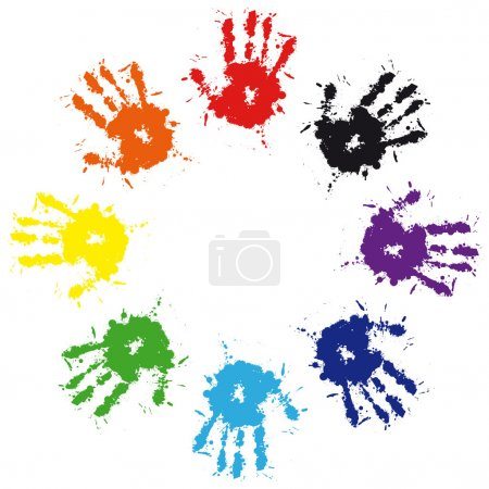 Illustration for Print of hand from ink colorful splash. Vector grunge illustration of hand of child, cute teamwork background - Royalty Free Image