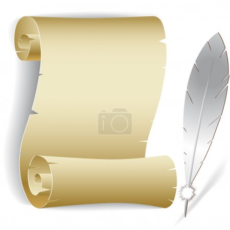 Old paper roll with feather vector illustration of...