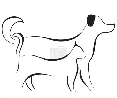 Cat and dog sketch vector