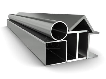 pipe en métal, de poutres, angles, canaux et tube carré sur fond blanc