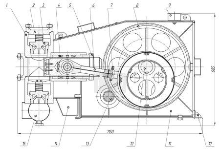 Illustration pour Dessin de construction mécanique. Pompe. Illustration vectorielle - image libre de droit