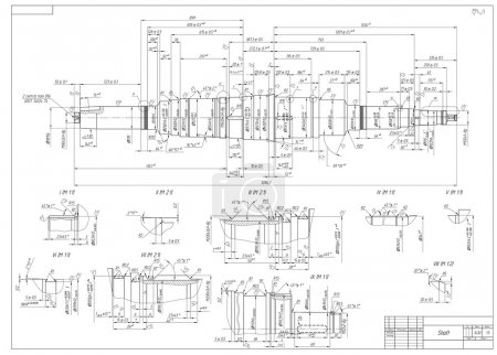 Illustration for Engineering drawings of the shaft. Vector illustration - Royalty Free Image