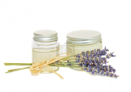 Jars with cream and lavender
