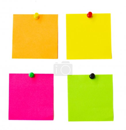 Photo pour Autocollants en papier multicolore isolés sur fond blanc - image libre de droit