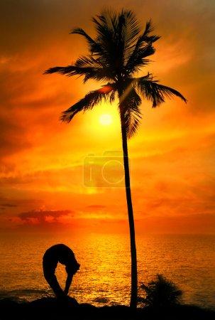 Yoga silhouette tiriang mukhottanasana pose at sunset