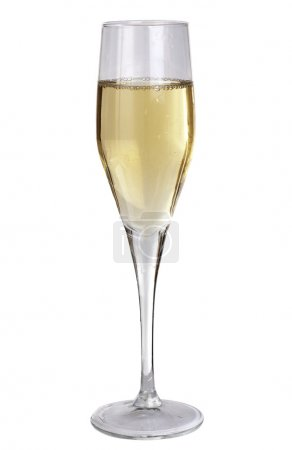 Studio photography of a champagne glass half filled, isolated on white