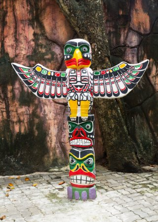 Photo for Sculpture Totem Pole Eagle wings - Royalty Free Image