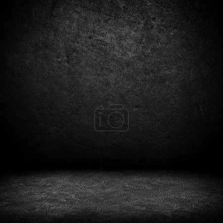 Photo for Black dark leather wall and black floor interior background - Royalty Free Image