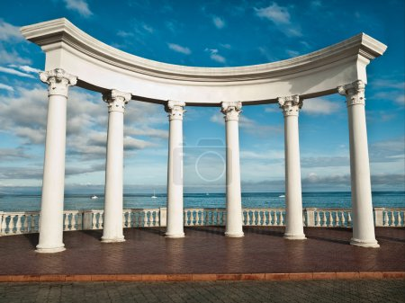 Photo for Ancient Greek columns against a blue sky and sea - Royalty Free Image
