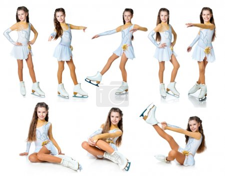 Photo for Girl on skates collection isolated on white - Royalty Free Image