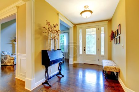 Luxury home entrance and hallway in golden yellow.