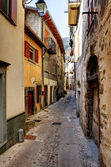 Tende, France. village in the mountains. Narrow street.