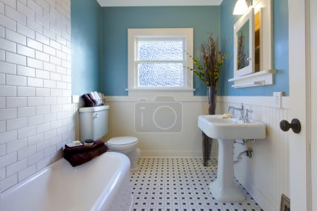 Antique luxury design of blue bathroom