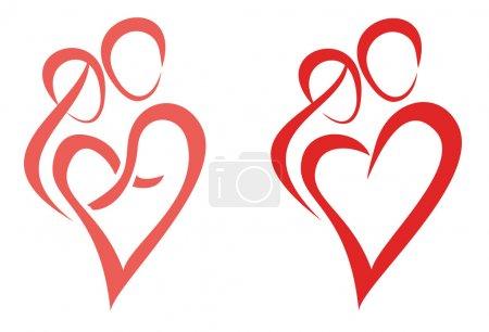 Illustration pour Famille, amour, symbole de deux jeunes étreignent mutuellement - image libre de droit