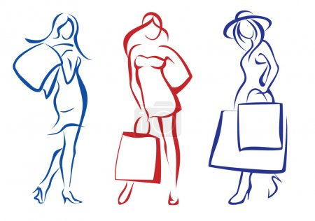 Photo pour Femme avec panier, collection d'illustrations isolées - image libre de droit