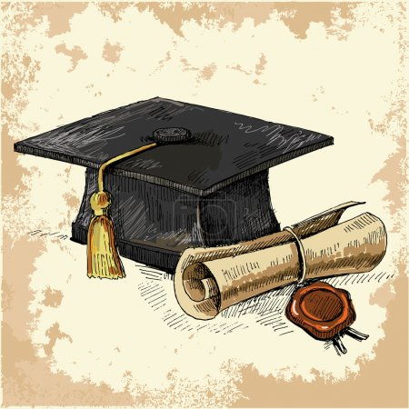 Illustration for Graduation cap and diploma. Vector illustration - Royalty Free Image