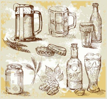 Illustration pour Ensemble d'illustration vectorielle de bière - image libre de droit