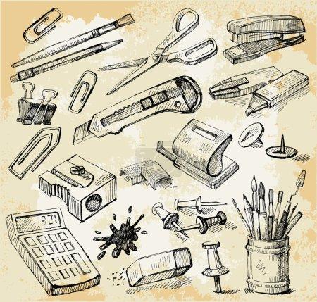 Illustration pour Set de trucs de bureau vintage dessinés à la main - image libre de droit