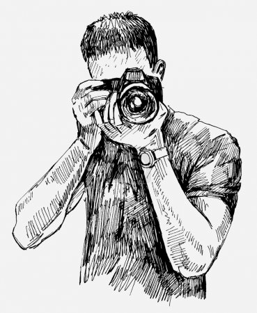 Illustration for Vector illustration of a Photographer - Royalty Free Image