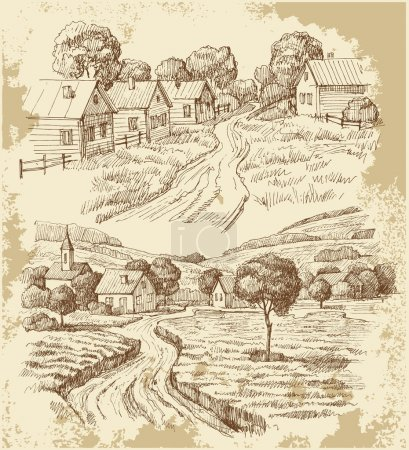 Illustration for Village original hand drawn collection - Royalty Free Image